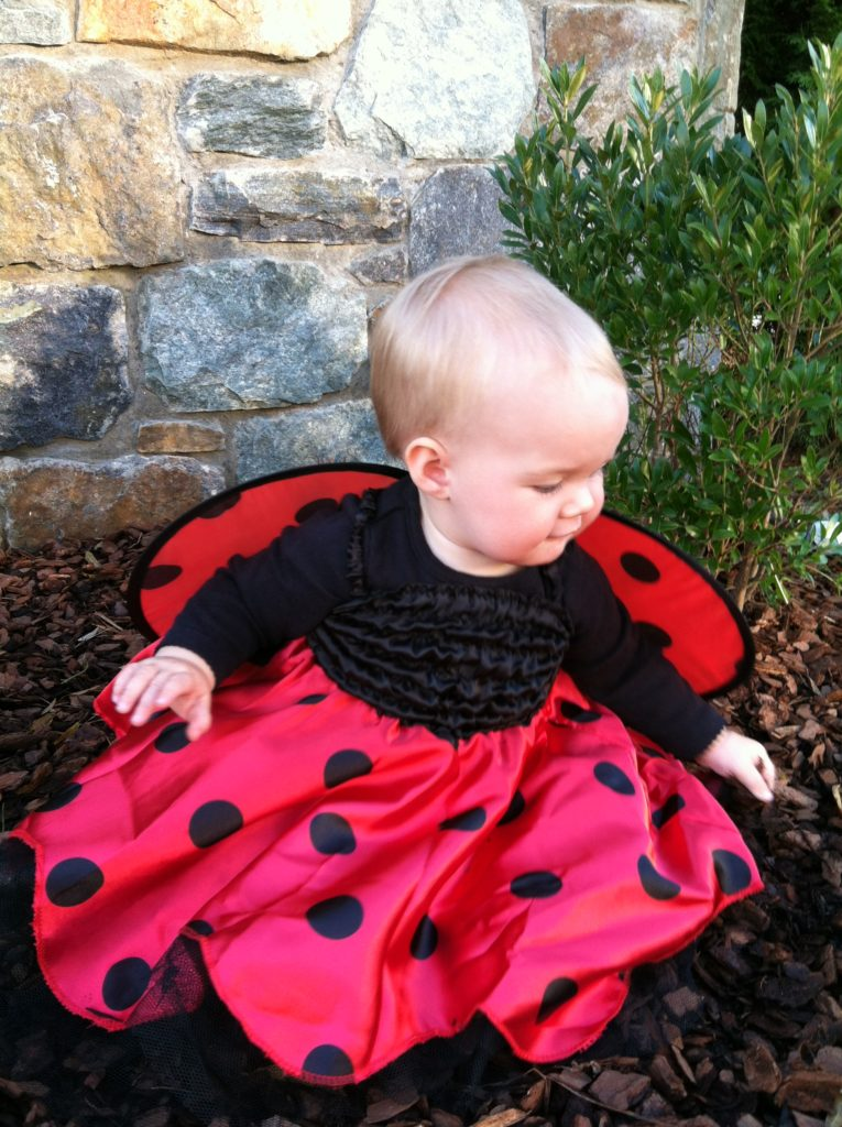 Girl dressed as ladybug